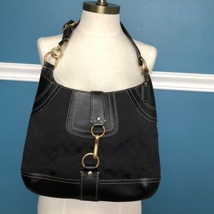 Coach black logo Hamptons Hobo bag with gold clasp